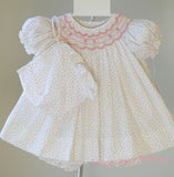 Petit Ami Ivory Rose bud Floral Smocked Dress Bonnet & Bloomers 3pc Newborn 3 6 9 Months