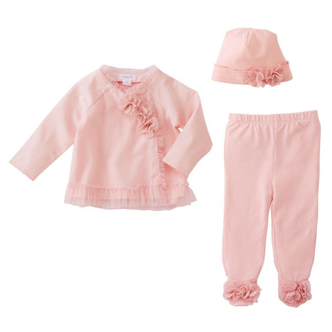 Mud Pie Pink Mesh Chiffon Knit Coming Home Set Newborn 0 3 M Baby Girls