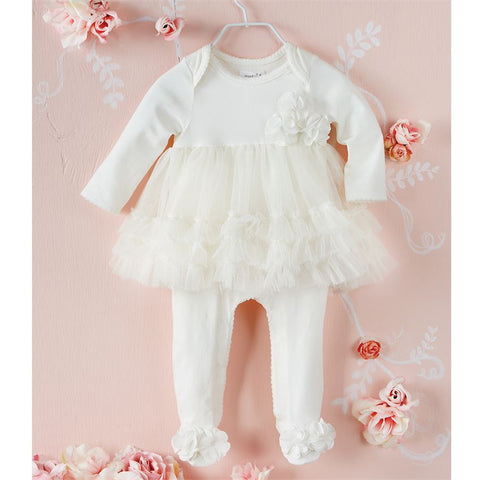 Mud Pie Ivory Mesh Chiffon Knit Skirted Sleeper Newborn 0 3 M Baby Girls