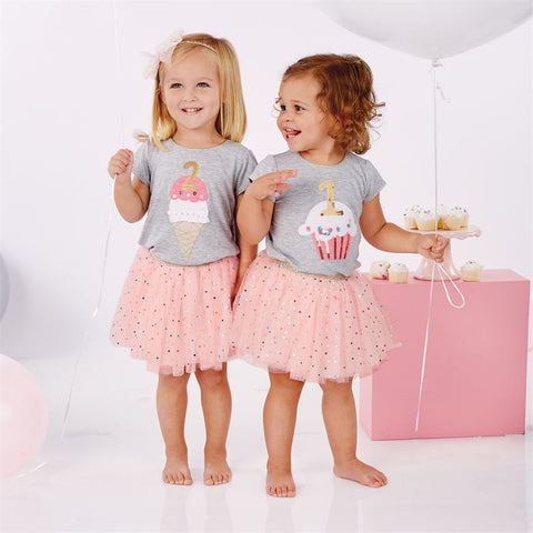 Mud Pie First Birthday Party Cupcake Tutu Skirt and Tee Size 12 18 M Baby Girls
