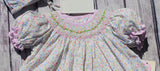 Petit Ami White Floral Smocked Bishop Dress, Bonnet & Bloomers 3pc Newborn Baby Girls