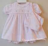 Petit Ami Pink Ruffle Rose Embroidered Dress Bonnet & Bloomers 3pc Newborn Baby Girls