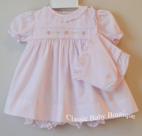 Petit Ami Pink Ruffle Rose Embroidered Dress Bonnet & Bloomers 3pc Preemie & Newborn Baby Girls