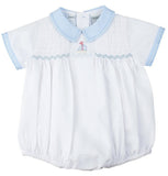 Feltman Brothers Freidknit Creations Boys Sailboat Smocked Bubble Romper Preemie