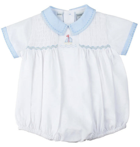 Feltman Brothers Freidknit Creations Boys Sailboat Smocked Bubble Romper 3 6 9 Months