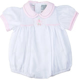 Freidknit Creations by Feltman Brothers Girls White Pink Bow Smocked Bubble Preemie