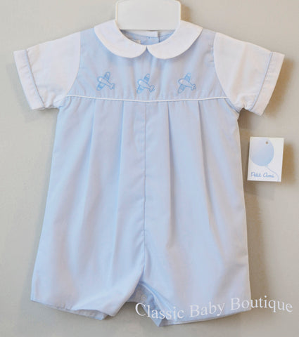 Petit Ami Boys Blue Airplane Pleated Romper Jon Jon Preemie Newborn