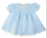 Feltman Brothers Freidknit Baby Girls Blue Lace Vintage Dress 3 6 9 Months