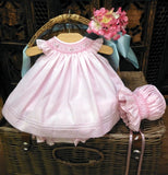 Will'beth Girls Pink Smocked 3pc Angel Wing Bishop Dress in Preemie Newborn 3 6 9 Months