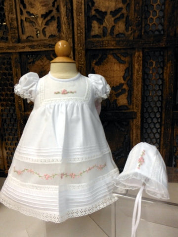 Will'beth Girls White Rose Heirloom Dress Daygown with Bonnet Preemie Newborn