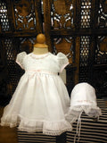 Will'beth White Sheer Overlay 3pc Ribbon Baby Girls Dress Preemie & Newborn