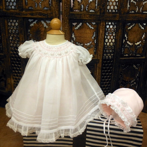 Will'beth Girls White Sheer Overlay Rose Smocked Bishop Dress with Bonnet Preemie & Newborn 3 Months
