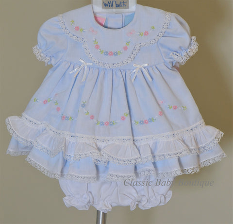 Will'beth Girls Blue Heirloom Lace 2pc Frilly Dress Preemie Newborn