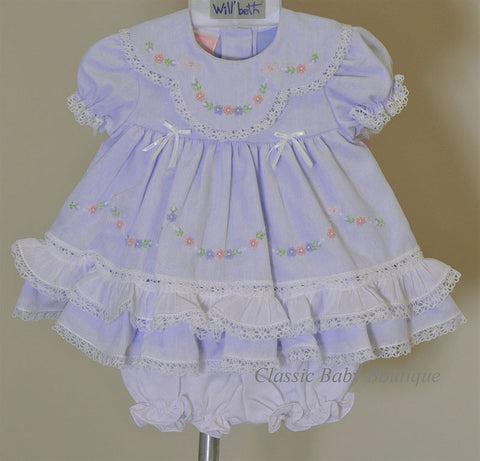 Will'beth Girls Lavender Heirloom Lace 2 piece Dress Preemie Newborn