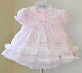 Will'beth Girls Pink Heirloom Lace 2pc Dress Bloomers Preemie Newborn 3 6 9 Months
