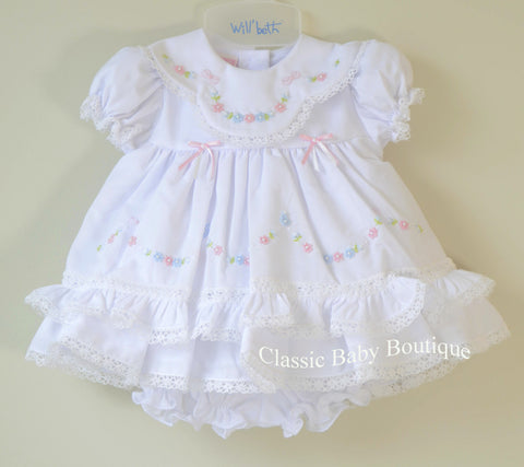 Will'beth Girls White Color Heirloom Lace Frilly Dress with Bloomers Newborn Preemie