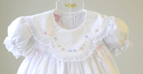 fedc8ea18 ... Will'beth Girls White Color Heirloom Lace Frilly Dress with Bloomers  Newborn Preemie