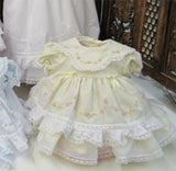 Will'beth Girls Yellow Ruffle Heirloom Lace 2pc Frilly Dress Newborn