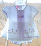 Will'beth Girls White Lavender Dot Bow Dress Set Newborn