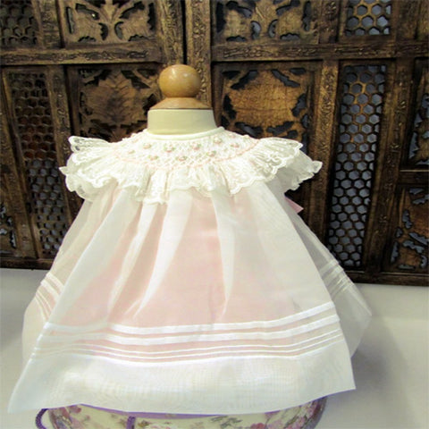 ef634fead Will'beth Girls Cream Sheer Vintage Smocked Rose Lace Bishop Dress New –  Classic Baby Boutique