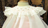 Will'beth Girls Cream Sheer Vintage Smocked Rose Lace Bishop Dress Newborn 3 6 9 months
