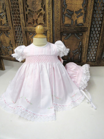 Will'beth Girls Pink Lace Smocked Dress Bonnet & Bloomers Newborn