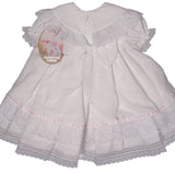 Will'beth Girls White Fancy Lace Heirloom Vintage 3 piece Dress Preemie Newborn 3 6 9 12 18 Months