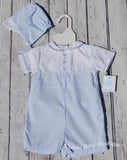 Petit Ami Boys Blue & White Train Classic 2pc Jon Jon Romper Preemie or Newborn with Hat