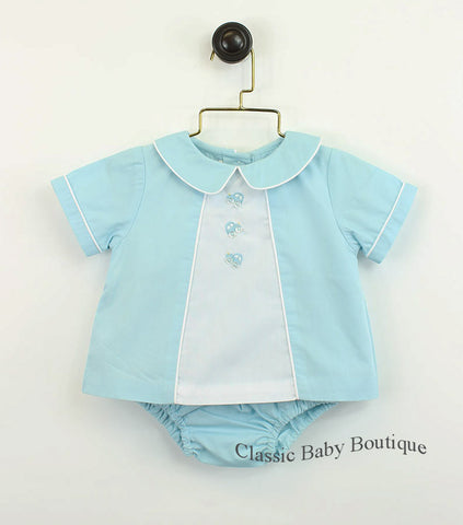 Petit Ami Aqua Blue Cars Diaper Set with Bloomers Newborn Baby Boys Layette