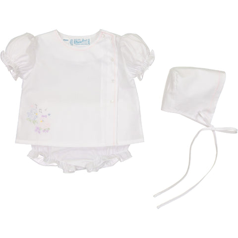 Feltman Brothers Girls White Vintage 3 Piece Heirloom Diaper Set with Bonnet Preemie