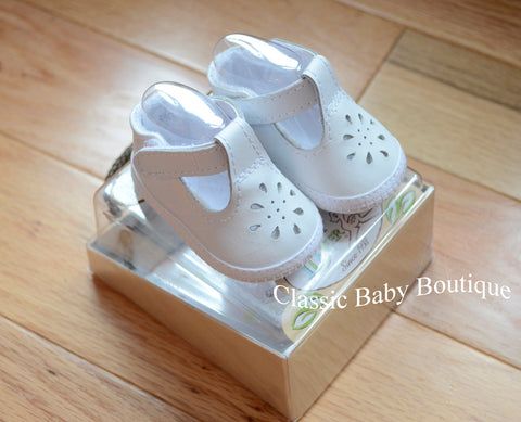Baby Deer White Leather T-Strap Booties