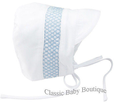 Feltman Brothers White Blue Boys Smocked Baby Bonnet Newborn 0 3 M