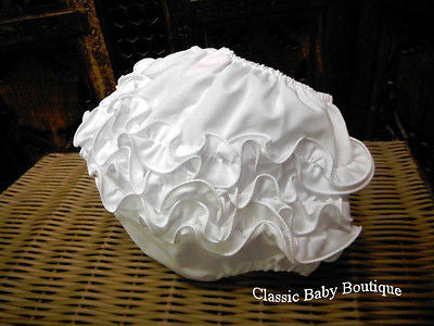 Will'Beth White Ruffled Diaper Cover Bloomers Size 0 3 Newborn & 6 9 Months Baby Girls