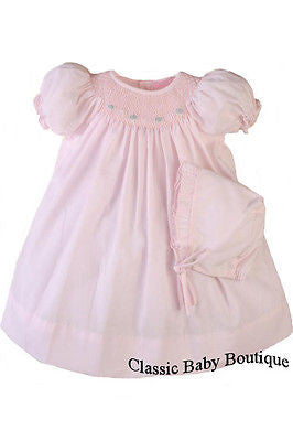 Petit Ami Girls Pink Bishop Smocked Baby Girls Dress Daygown Preemie