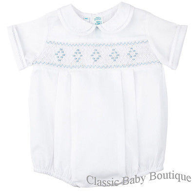 Feltman Brothers Boys White Diamond Smocked Romper Newborn 3 6 9 Months