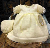 Will'beth Girls Lemon Yellow Knit Dress 3pc Set with Bonnet & Bloomers Newborn