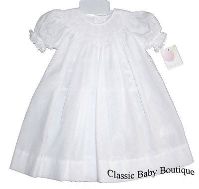 Petit Ami Girls All White Smocked Bishop Dress 3 6 9 Months