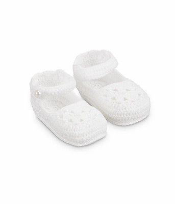 Jefferies Socks Pearl Mary Jane Crocheted Baby Booties Crib Shoes Newborn