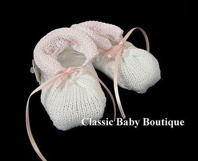 Will'beth Girls White Pink Pearl Baby Booties Shoes Newborn