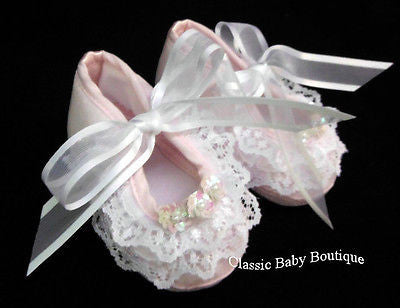 Will'beth Pink Heirloom Lace & Sequins Baby Booties Crib Shoes Size 0 Girls Newborn