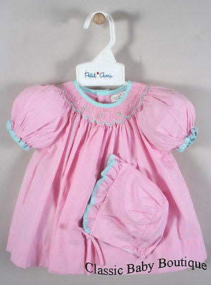 Petit Ami Girls Pink & Blue Gingham Smocked Bishop 3pc Dress Newborn