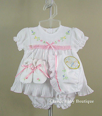 Will'beth Girls White Pleated Ribbon 4pc Dress Preemie Newborn & 3 6 months