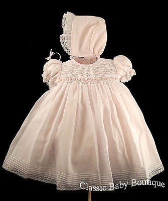 Will'beth Girls Pink Smocked Bodice Heirloom Dress with Bonnet Preemie Newborn