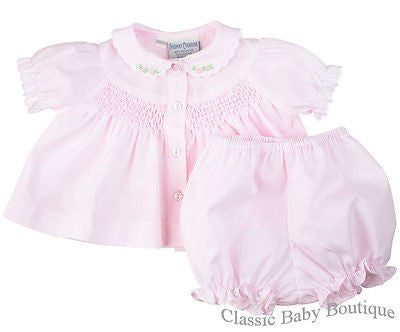 Freidknit Creations Girls Pink Smocked Diaper Set Preemie