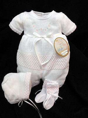Will'beth White Pink Flower Knit 3p Romper Preemie or  Newborn Baby Girls with Bonnet & Booties