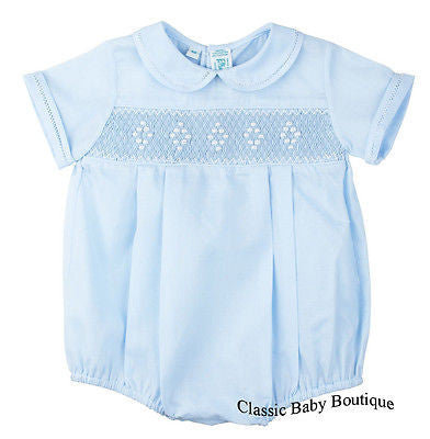Feltman Brothers Blue Diamond Smocked Creeper Romper Boys Newborn 3 6 9 Months