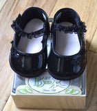 Baby Deer Black Patent Embroidered Skimmer Booties Crib Shoes Girls Newborn 0 3 Months Size 0 Size 1