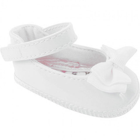 Baby Deer White Patent Bow Skimmer Booties Crib Shoes Girls Newborn Size 0