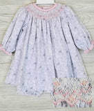 Petit Ami Gray & Pink Floral Smocked Bishop Dress & Bloomers 3 6 9 12 18 24 Months