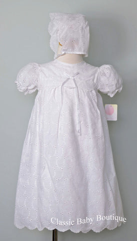 Petit Ami White Eyelet 3pc Girls Christening Dedication Dress 3 6 9 12 Months